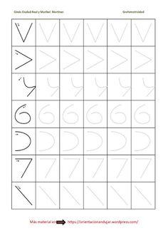 Ejercicios de grafomotricidad Preschool Writing, Preschool Curriculum, Preschool Games, Preschool Printables, Preschool Worksheets, Handwriting Practice Sheets, Handwriting Worksheets, Pre Writing, Writing Skills
