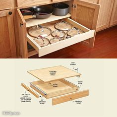 You can mount a drawer for pot lids under your pot shelf—or under any other cabinet shelf. Before you remove the shelf, put some pencil marks on it to indicate the width of the cabinet opening at its narrowest point (usually at the hinges). Your drawer front and slides can't extend beyond those marks (or you'll spend hours building a drawer that won't open). Then remove the shelf. If it's made from particleboard, I recommend that you replace it with 3/4-in. plywood and transfer the marks to…