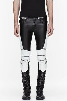 Saint Laurent Black & White Ribbed Zipped Biker Pants for men | SSENSE