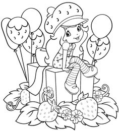 Sandra doing art: Strawberry Shortcake - new version of the doll and the gang - coloring