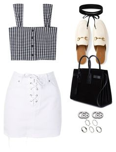 """""""Untitled #10833"""" by katgorostiza ❤ liked on Polyvore featuring Topshop, Gucci, Yves Saint Laurent, Boohoo and ASOS"""