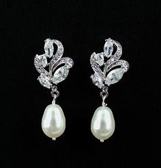 Crystal Bridal Earrings Crystal and Pearl Drop by JamJewels1, $36.00