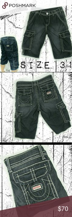 True Religion 31 Cord cargo shorts ✴BOGO 50% OFF ✴ True Religion Men's size 31. Cargo cords, blue with a distressed (faded) wash. All  MEN'S WEAR BUY ONE  GET ONE 1/2 OFF True Religion Shorts Cargo