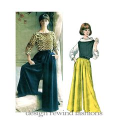 1960s Vogue Paris Original PALAZZO CULOTTE Wide Leg PANTS & BLOUSE Pattern by Guy Laroche @DesignRewind DesignRewindFashions - Vintage to Modern Sewing Patterns #VintageVoguePatterns