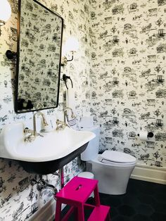 Our new powder room. Kohler Brockway sink with Flavor Paper Nortorius B.G Brooklyn Toile wallpaper. Love the cement tiles by Villa Lagoon. Kohler Brockway Sink, Unusual Wallpaper, Toile Wallpaper, Modern Farmhouse Bathroom, Clawfoot Bathtub, Restoration Hardware, Powder Room, Cement Tiles, Curtains