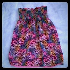 a8e2e2a4f617d Rainbow cheetah strapless convertible dress Lisa Frank style print  convertible and reversible dress/skirt,