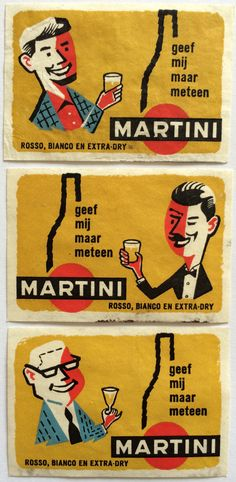 Martini, dutch vintage #matchbox Labels To order your business' own branded #MatchBoxes GoTo www.GetMatches.com or CALL 800.6055.7331 to get the painless process started Today!