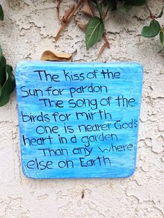 Handcrafted cement blue/white square wall plaque with poem.  Garden/yard art  #Handcrafted
