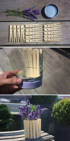 TUTO DIY : Faire soi-même un pot de fleur avec des pinces à linges