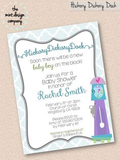 Hickory Dickory Dock Nursery Rhyme Baby Shower Invitation (girl or boy available!) by the mint design company