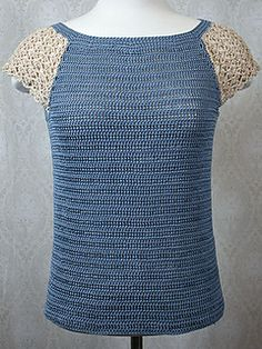 Raglan lace tee...sizes up to 3XL... Free crochet pattern!
