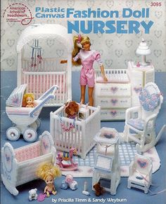Add it to your favorites to revisit it later.       Barbie Plastic Canvas Furniture Fashion Doll Nursery American School of Needlework 3095