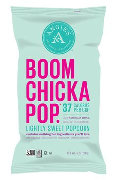 Boom Chicka Pop packaging pillow bags. #sachet #plastiques #plastic #bags #pillow #single #serve #emballage #zip #sacs#souple #packaging