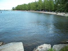 View of beach from peninsula, Sibbald Point Provincial Park