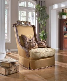 Shop Meridian Furniture Loretto Cherry Chair with great price, The Classy Home Furniture has the best selection of Chairs to choose from Living Room Sets, Living Room Chairs, Living Room Furniture, Living Room Decor, Meridian Furniture, Acme Furniture, Antique Furniture, Traditional Furniture, Furniture Collection