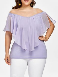 96f4858c7ae6e Plus Size V-Neck Flounce Overlay Chiffon Top – 2shoptrendy Large Size  Clothing