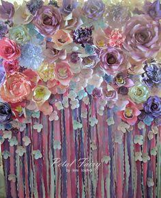 Paper flower backdrop https://www.facebook.com/PetalFairyDesign