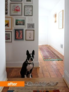 Before & After: Blank Slate Hallway - removed carpet and added personality to give a previously dull and dim hallway a fresh face. I LOVE the floorboards! ~ via Apartment Therapy