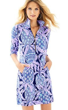 d9f27036f52 The cute style of a dress with the comfort of a sweatshirt- Meet the UPF  Skipper Printed Popover Dress. With roomy pockets and a half neck zip