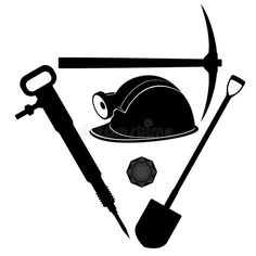 Illustration about Miners helmet and tools for coal mining. Illustration on white background. Illustration of vector, drawing, helmet - 43449189 Mining Logo, Glass Wall Design, Picture Templates, Silhouette Pictures, Coal Miners, Applique Templates, Coloring Book Pages, Quilt Patterns, Tools