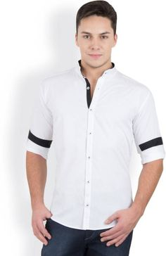 GHPC White Cotton Stand Collar Casual Shirt #WhiteCollection #MenFashion
