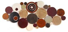 Handmade Bubbles Mosaic Tile in Mill City Blend #rustic #circletile #red #brown #cream #kitchentile #bathroomtile