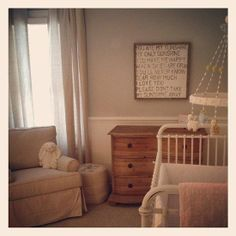 Shabby Chic : Soft colors and a vintage crib create a relaxing environment for your baby.   Source: Instagram User sallywiggins