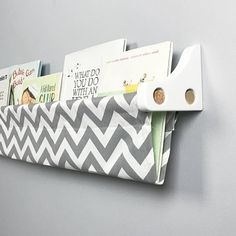 Book Sling - Grey and White Chevron Wall Organizer - Choose your size by bluehousejoys on Etsy https://www.etsy.com/ca/listing/94256474/book-sling-grey-and-white-chevron-wall