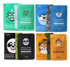 SNP Animal Face Mask Sheet Dragon, Panda, Tiger, Otter 10Pcs/Box - Strawberrycoco