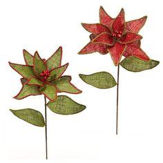 "RAZ 26"" Red Green Burlap Poinsettias Set of 2"