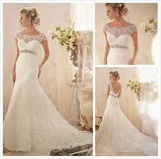 Trumpet Low back cape sleeves Beaded sash Lace wedding dress Plus size bridal gown#2620
