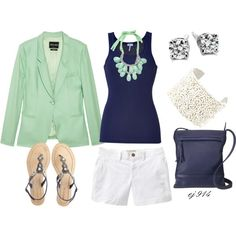 A fashion look from June 2012 featuring Splendid tops, Giorgio Armani blazers y Old Navy shorts. Browse and shop related looks. Casual Work Outfits, Pretty Outfits, Summer Outfits, Cute Outfits, Navy Shorts, Bermuda Shorts, Women's Fashion, Fashion Outfits, Sporty Look