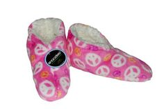 Snoozies Peace Sign Womens Fleece Lined Booties Snoozies. $12.95