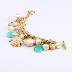 Inviting Gold Alloy Bracelet With Light Blue Artificial Gemstones.  - New In