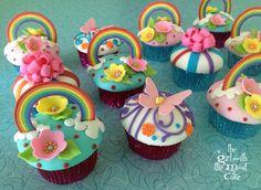 Rainbow  & Flowers & Butterflies Cupcakes