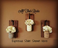 Neutral Toned Hanging Mason Jar Sconces Set of 3 by AllThatsRustic