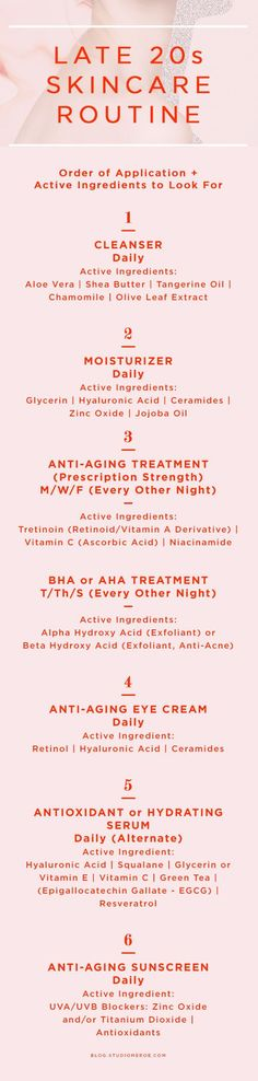 Late 20s skin care routine   Order of application + active ingredients to look for   skin care tips   anti-aging  
