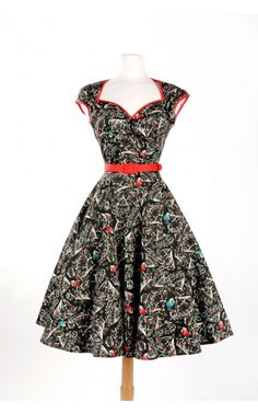 Pinup Couture- Heidi Dress in Vintage Spanish Fan Print | Pinup Girl Clothing