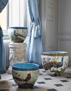 peacock and pheasant containers. France, Château de Digoine, Christie's sale…
