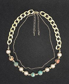 Ceramic vivid beads combine with chain,2 layered necklace