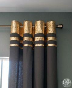 DIY- gold leaf embellished curtains:Try the tutorial for DIY gold leaf…