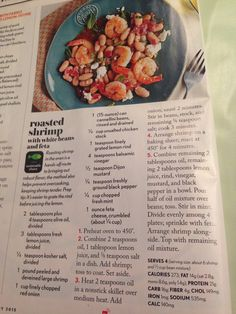 Roasted shrimp with beans and feta. Cooking light jan pg 22---going to try no salt