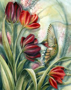 Flower Diamond Painting Kits have a huge selection of flowers like Roses, Carnations, Sunflowers, Hydrangea and many, many more. 5d Diamond Painting, Silk Painting, Cross Paintings, Original Paintings, Hummingbird Flowers, Desenho Tattoo, Bird Art, Red Flowers, Art Tutorials