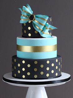 Black, Teal, Gold Cake