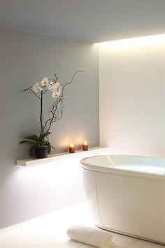 Ideas For Bathroom Design Spa Lighting Spa Lighting, Bathroom Lighting, Lighting Ideas, Bathroom Inspiration, Interior Inspiration, Home Modern, Bathroom Spa, White Bathroom, Grey Walls
