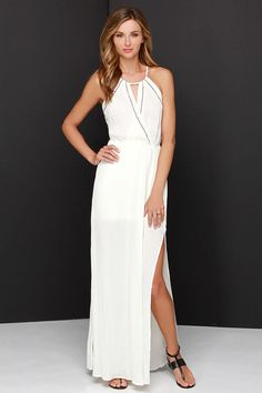 Second Nature Cream Maxi Dress at Lulus.com! Rehearsal dress... Exactly what I've been looking for!