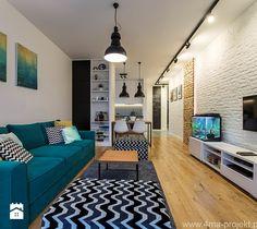 """Mieszkanie 64 m2 z """"loftowym"""" akcentem. - Średni salon z jadalnią, styl nowoczesny - zdjęcie od 4ma projekt"""