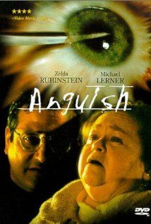 Anguish (1987, Spain), directed by Bigas Luna. A film-within-a-film thriller about two teen girls among a small group of people whom are terrorized in a movie theater by a killer while watching a horror film about a murderous optometrist who stalks his victims in a movie theater in the film.