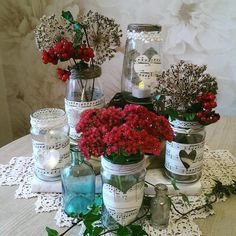 Evening all.A quick share of some upcycled jam jars for a bride to be to use with tealights! BVx #ecocreatehour
