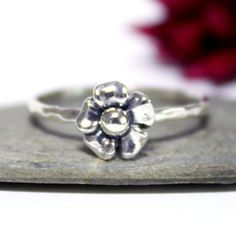 Flower Ring/ Cute Flower Ring /Simple Ring/ Silver Stacking Ring/ Rustic Oxidized Silver Stacking Ring (18.00 USD) by rosajuri